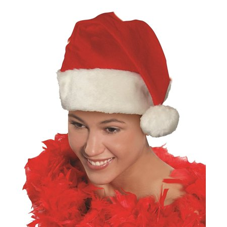 Forum Deluxe Promo Santa Claus Hat w Faux Fur Trim, Red White, Large 7.5 Dia.