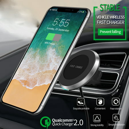 2in1 10W Qi Wireless Fast Charger Car Air Vent/Dashboard Charging Mount Holder Mount For QI Smart Mobile Phone - image 10 de 10