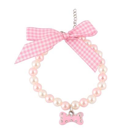 Bone Round Necklace (Metal Shining Rhinestone Round Beads Bone Charm Pendent Pet Necklace Light Pink)