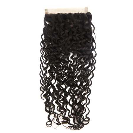 "9A Brazilian Jerry Curly Human Hair Extension 14"" 4x4 Lace Closure Free Part - image 3 de 3"