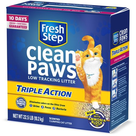 Fresh Step Clean Paws Triple Action Scented Litter, Clumping Cat Litter, 22.5