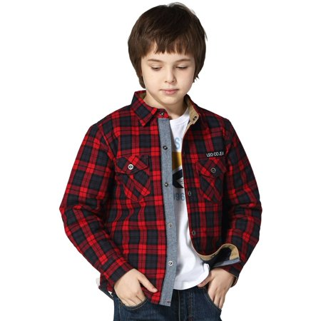 Leo&Lily Boys' Casual Yarns Dyed Flannel Quilted Jackets - Flannel Boys Jacket