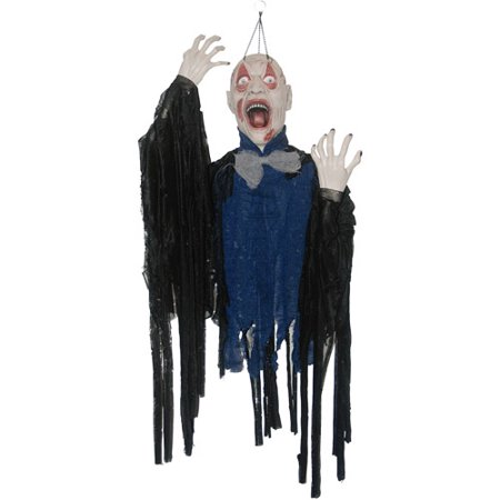 5' Zombie Hanging by Eyelids Halloween Decoration - Zombie Apocalypse Halloween Decorations