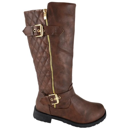 Riding Knee High (BJY-03W Womens Knee High Quilted Military Riding Combat Flat Buckle Zipper Boots Brown)