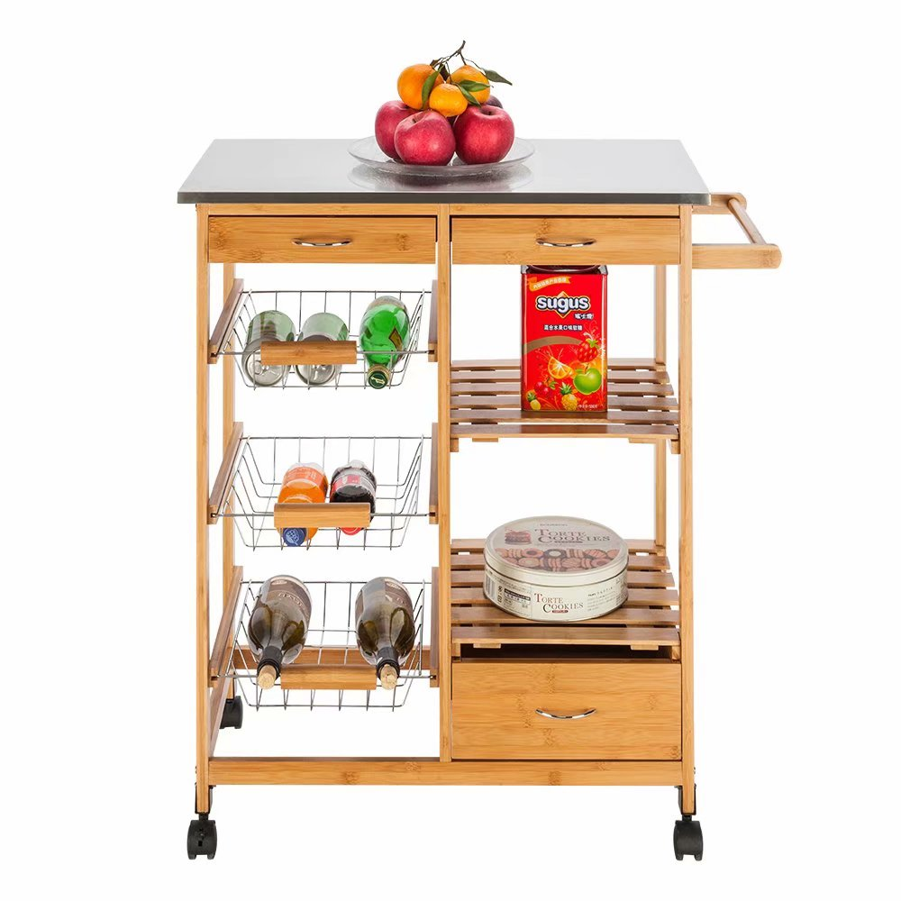 Soddyenergy Moveable Kitchen Cart With Stainless Steel Table Top Three Drawers Three Baskets Burlywood Bar Serving Carts Home Bar Furniture Svanimal Com