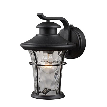 - outdoor lighting wall mount lantern with dusk-to-dawn light control of hardware house features water glass shade, textured black finish