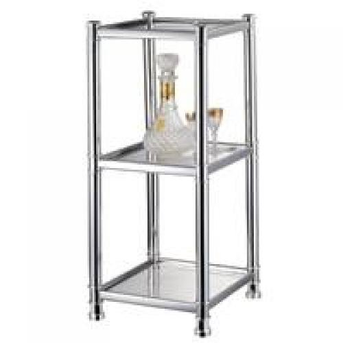 SHELF 3-TIER TEMPER GLASS CHRM