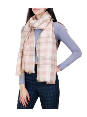 Fringed Pink Plaid Fall Scarf