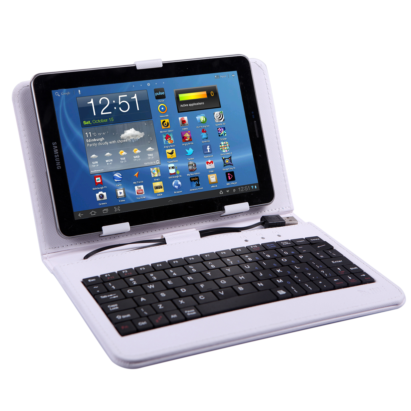 HDE 7 Inch Universal Tablet Case Hard Leather Folio Case Cover with Keyboard (White)