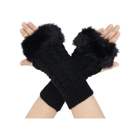 Simplicity Winter Warmer Women Faux Knitted Hand Wrist Fingerless Gloves, Black2 (Striped Wrist Warmers)