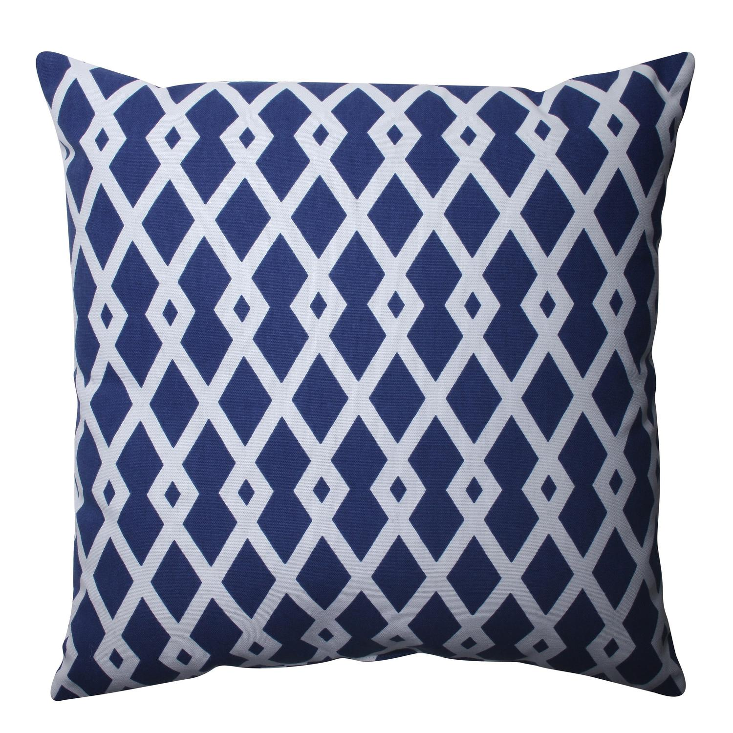 "16.5"" Cascading Diamonds Navy Blue and White Decorative Throw Pillow"