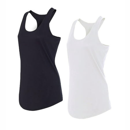 Glass House Apparel Women's Athletic Racerback Tank Top Performance Sport Active Yoga Compression Running Shirt, 2 Pack (Black &