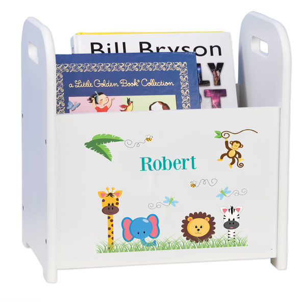 Personalized Jungle Boy White Book Caddy and Rack