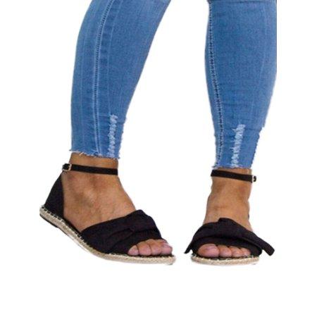 - Women Ladies Flat Espadrilles Peep toe Pumps Bowknot Summer Casual Sandals Shoes