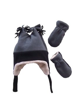 NICE CAPS Little Boys and Baby Warm Sherpa Lined Micro Fleece Four Corner Ski Hat and Mitten Cold Weather Winter Headwear Accessory Set - Fits Toddler Kids Children Sizes