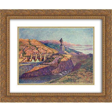 Lenin Statue (Ilya Mashkov 2x Matted 24x20 Gold Ornate Framed Art Print 'ZAGES and a statue of)