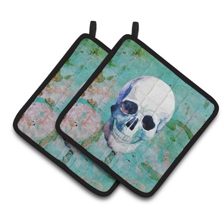 Caroline's Treasures Day of the Dead Teal Skull Pair of Pot Holders - The Potholder