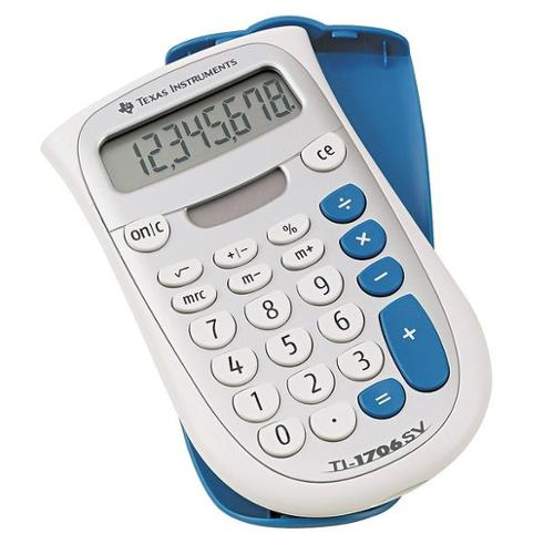 TEXAS INSTRUMENTS TEXTI1706SV Handheld Pocket Calculator, LCD, 8 Digit