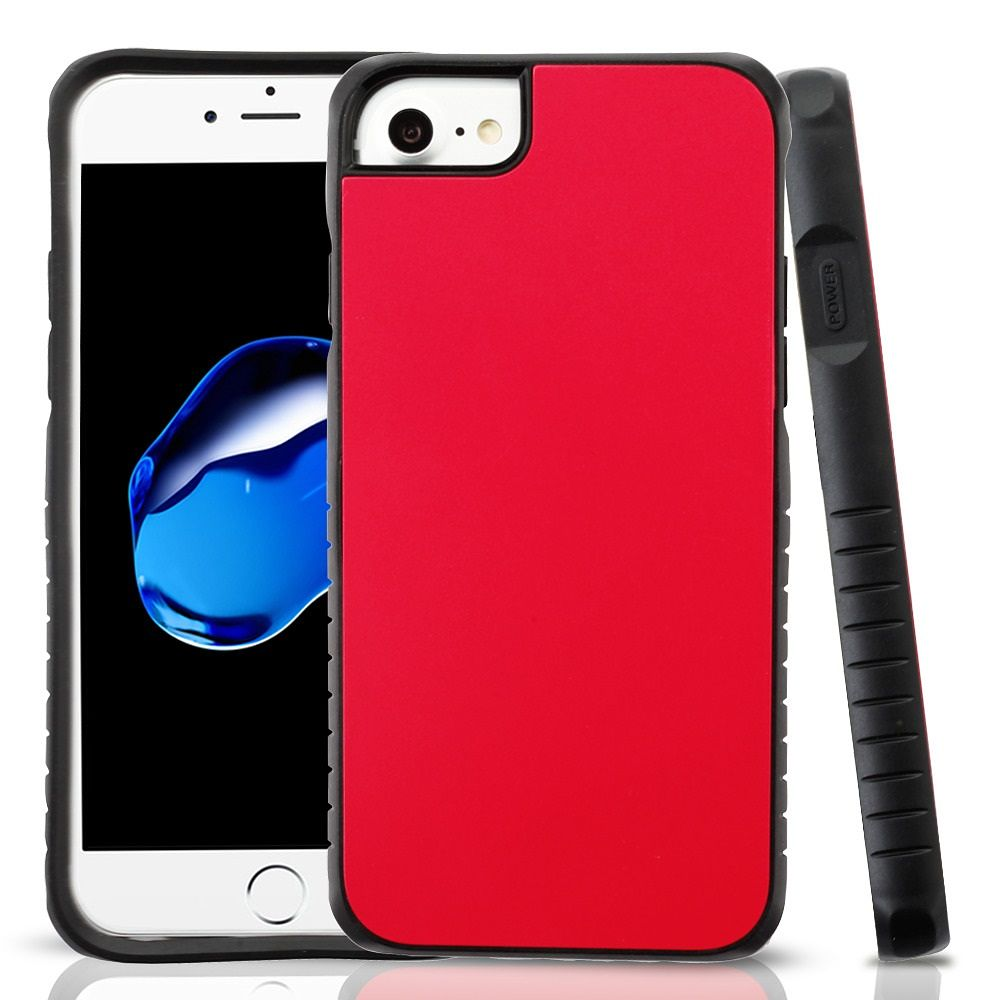 Apple iPhone 7/8 Case, by Insten Dual Layer [Shock Absorbing] Hybrid Hard Plastic/Soft TPU Rubber Case Cover For Apple iPhone 7/8, Red/Black (Combo with Clear Screen Protector) - image 3 of 3