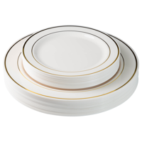 Exquisite 60 Pcs Ivory & Gold Plastic Disposable Dinnerware Set Combo - Wedding & Party - 30 Plastic Dinner Plates and 30 Dessert Plates
