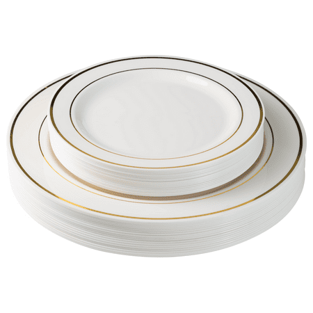 Exquisite 60 Pcs Plastic Disposable Dinnerware Set Combo - Wedding & Party Disposable Dinner Plates - Set of 30 Cream Colored Ivory & Gold Plastic Dinner Plates and 30 Plastic - Plastic Dinner Plates In Bulk
