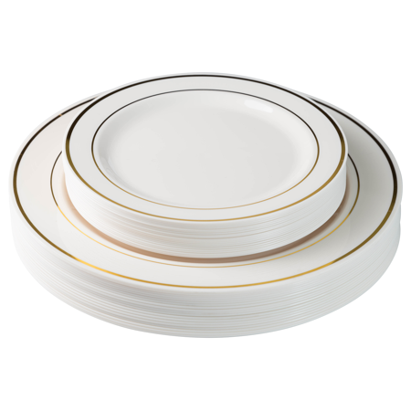 Exquisite 60 Pcs Plastic Disposable Dinnerware Set Combo - Wedding & Party Disposable Dinner Plates - Set of 30 Cream Colored Ivory & Gold Plastic Dinner Plates and 30 Plastic Appetizer/Dessert Plates