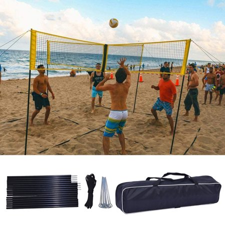 Volleyball Net Set Outdoor Portable 4-sided Volleyball Net ...