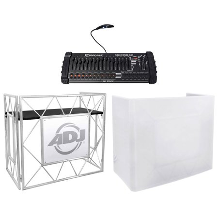American Dj Connector - American DJ Pro Event Table II DJ Booth Truss Facade+White Scrim+DMX Controller