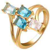 Tiana Varying Blue Color Cz Gold Over Sterling Silver Statement Ring