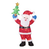 "Holiday Time Light-up Tinsel Santa Claus Decoration, 48"""