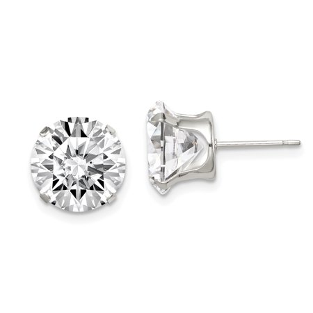 925 Sterling Silver 10mm Round Snap Set Cubic Zirconia Cz Stud Earrings Radiant Fine Jewelry Gifts For Women For Her - image 6 de 6