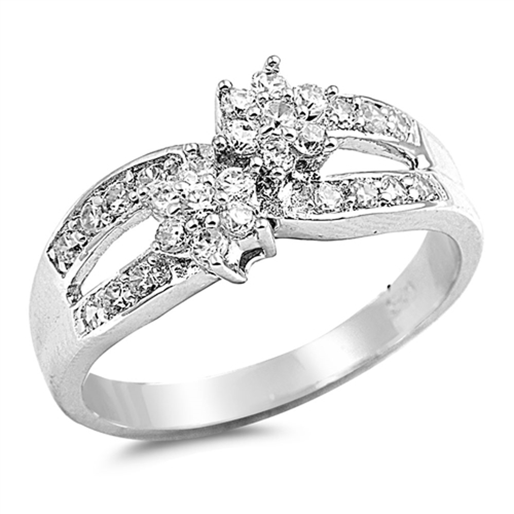 Clear CZ Flower Infinity Wedding Ring ( Sizes 5 6 7 8 9 ) New .925 Sterling Silver Band Rings by Sac Silver (Size 9)