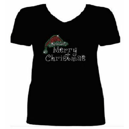 Lee T-shirt Hat - Bling Christmas Santa Hat Women's t shirt XMA-321-SV - S