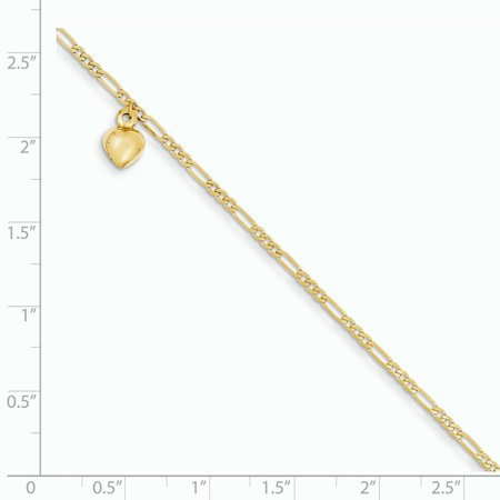 14K Yellow Gold Figaro Link with Dangling Heart Anklet - image 1 of 2