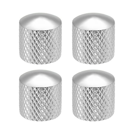 - 6mm Metal Potentiometer Control Knobs For Electric Guitar Bass Volume Tone Knobs Silver Tone, 4pcs