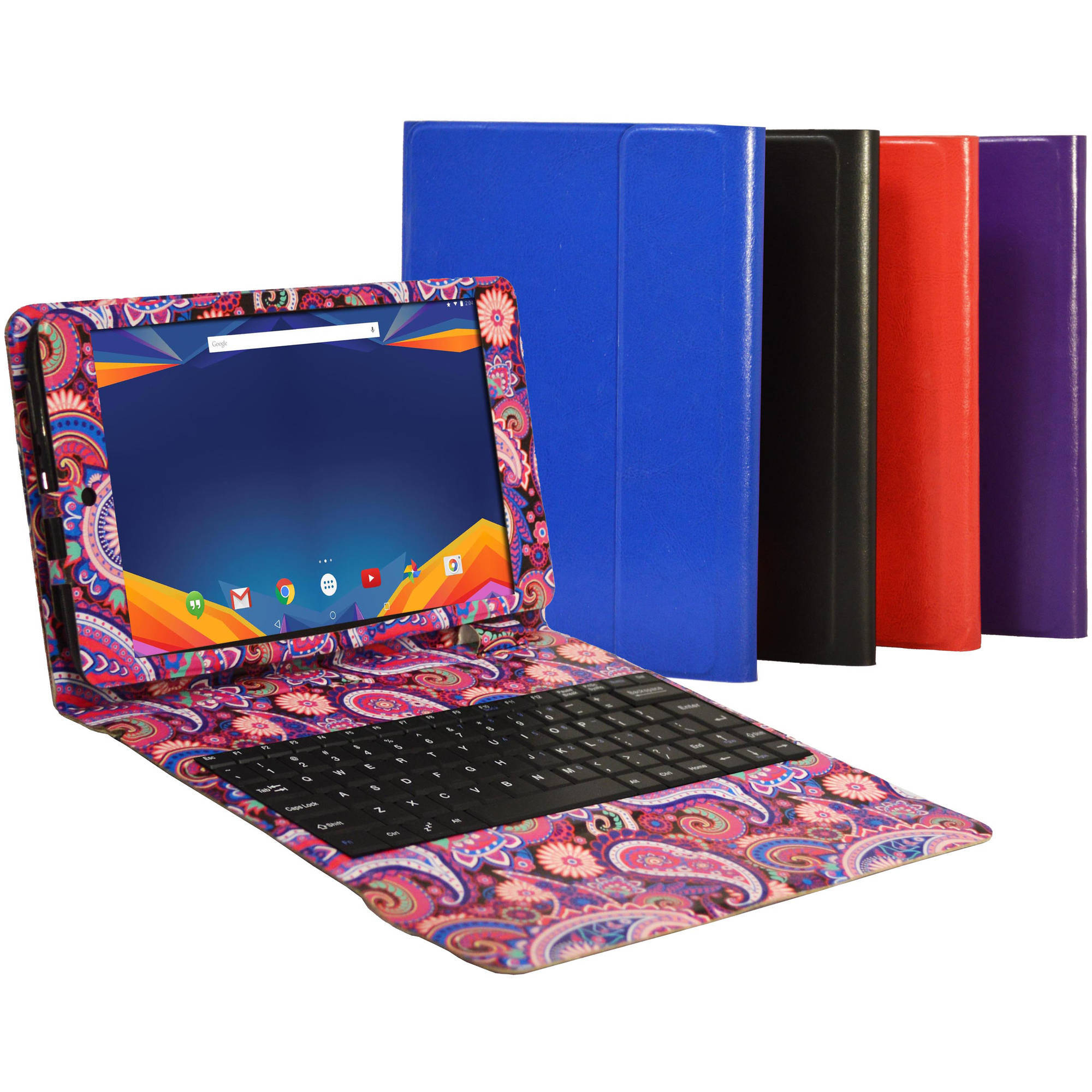 "Visual Land 10.1"" IPS Octa Core Tablet 16GB Dual Speakers includes Keyboard Case (Paisley)"