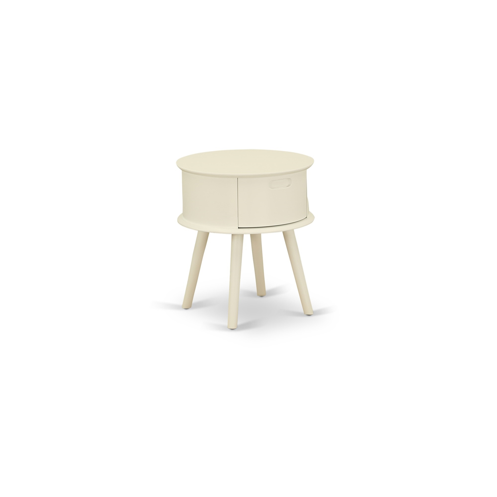 Gordon Round Night Stand End Table With Drawer In White Finish Walmart Com Walmart Com