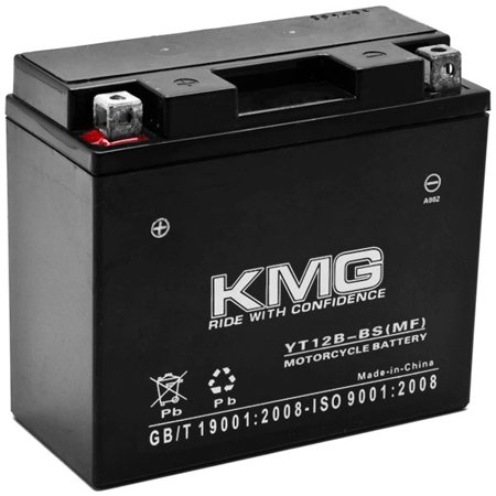 KMG Yamaha 650 XVS650 V-Star All 1998-2011 YT12B-BS Sealed Maintenace Free Battery High Performance 12V SMF OEM Replacement Maintenance Free Powersport Motorcycle ATV Scooter Snowmobile (04 Replacement Motorcycle Battery)