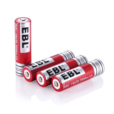 Li Ion Rechargeable Camcorder Battery (EBL 4-Pack 18650 Battery 3000mAh 3.7v Lithium-ion Rechargeable)