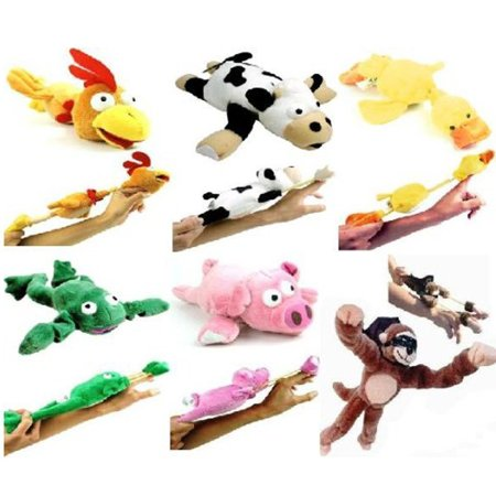 6PC Set of Flingshot Slingshot Flying Screaming Animals Kids Toy Gift Monkey Cow ()