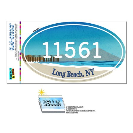11561 Long Beach, NY - Beach Pier - Oval Zip Code Sticker ()