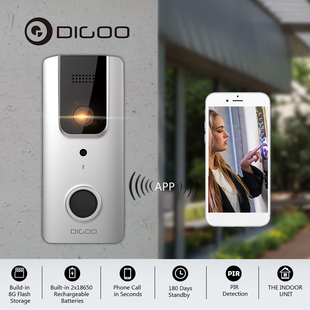 DIGOO SB-XYA 5 in 1 Video Wifi Doorbell with PIR Motion Detection,HD 1080P Camera Image,Free App Control,Night Vision,Two-Way Talk,Phone Ring,Cloud Service,Waterproof IPX6