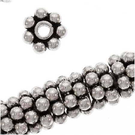 - Antiqued Bali Sterling Silver Daisy Spacers 5mm (8 Beads)