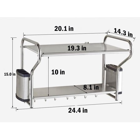 Interbuying 2 Layer Stainless Steel Microwave Oven Wall Mount Shelf With Removable(#020148)
