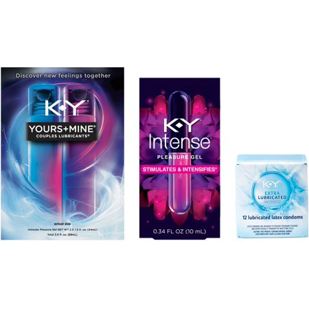 2 Pack - K-Y Ultra Thin Latex Condoms (12cnt), Yours + Mine Couples Personal Lubricants (3oz) & Intense Pleasure Gel (Best Condoms For Married Couples)