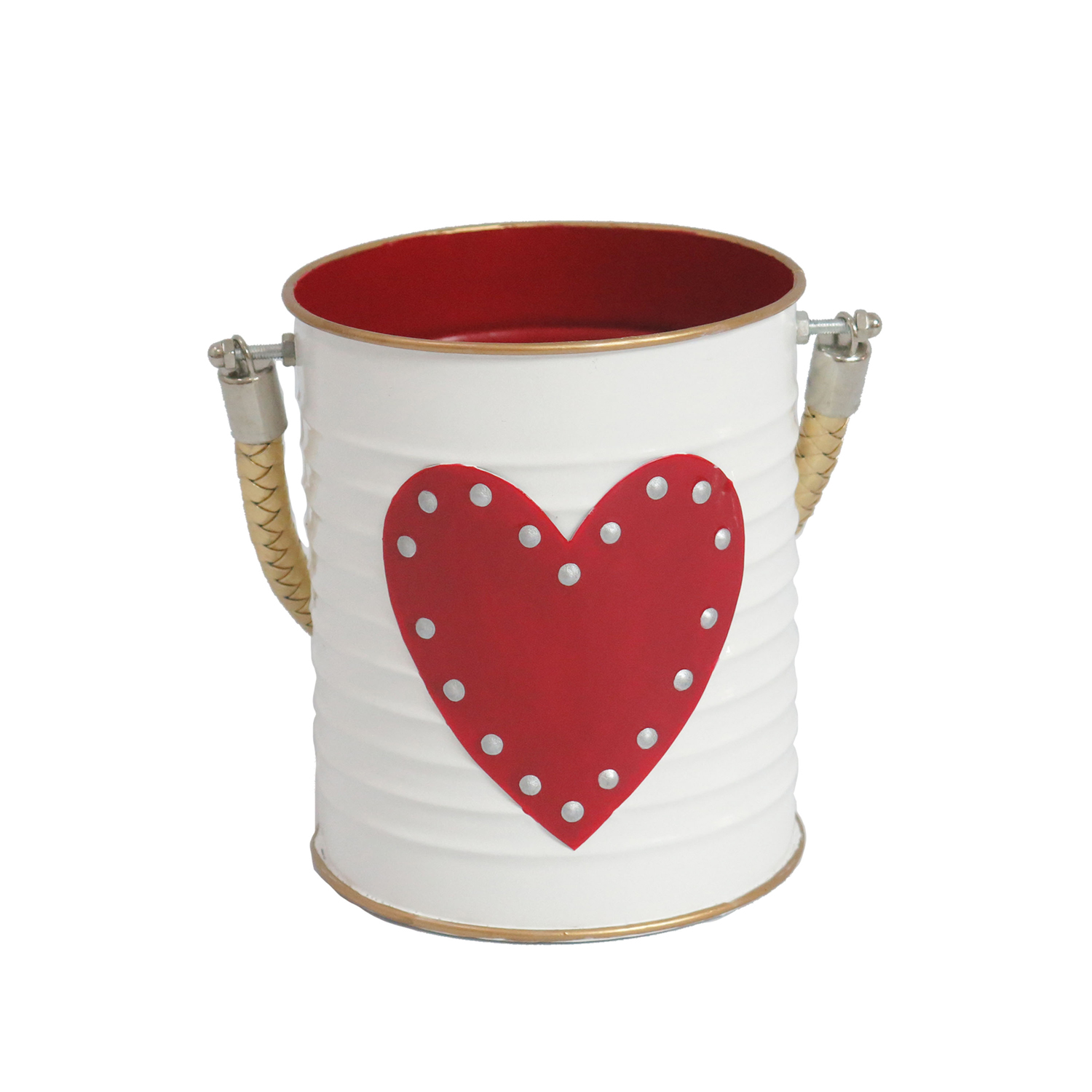 White Tin with Red Heart