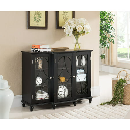Logan Black Wood Contemporary Sideboard Buffet Console Table China Cabinet With Glass Doors & Storage