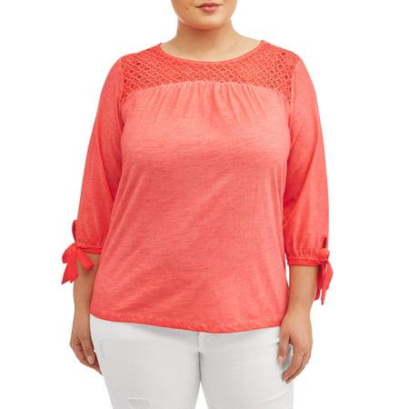 Women's Plus Size Lace Yoke Peasant Top