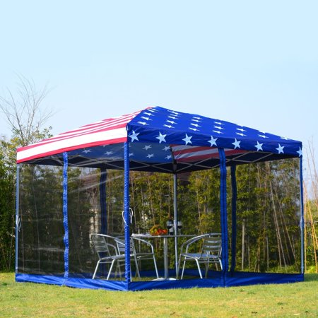 New MTN-G MTN-G 10'x10' Pop-up Wedding Party Tent Canopy US Flag Gazebo