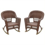 Jeco Wicker Rocker Chair in Honey (Set of 2)